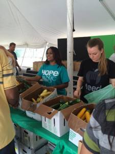 Being the hands & feet of Jesus. 100s were given large bags of farm fresh veggies